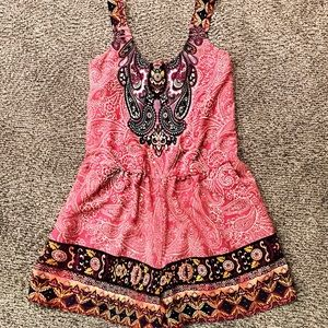 Pink paisley boho culotte romper with pockets